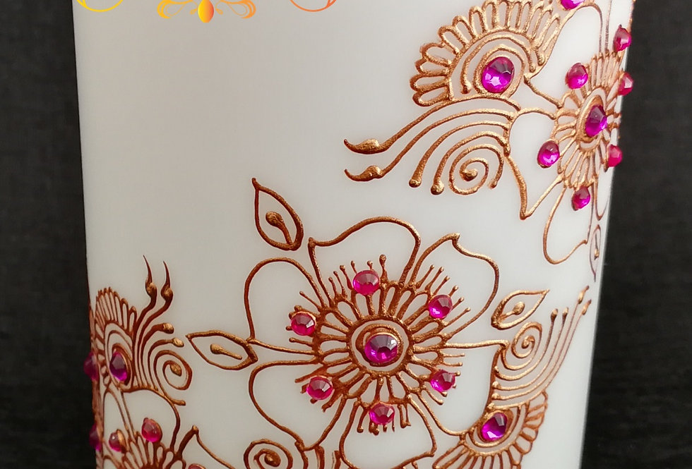 10cm White Pillar LED Candle with Gold Henna Design and Dark Pink Rhinestones