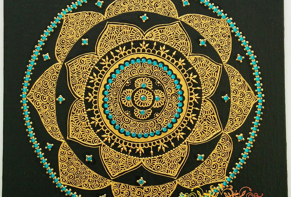 Gold Free Flow Canvas with Turquoise Rhinestones