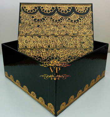 Black Gift Box with Gold Henna Design
