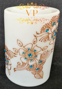 10cm White Pillar LED Candle with Gold Henna Design and Turquoise Rhinestones