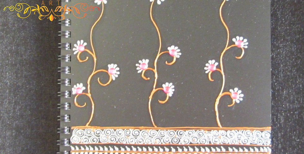 A5 Black Notepad with Copper and Silver Henna Design