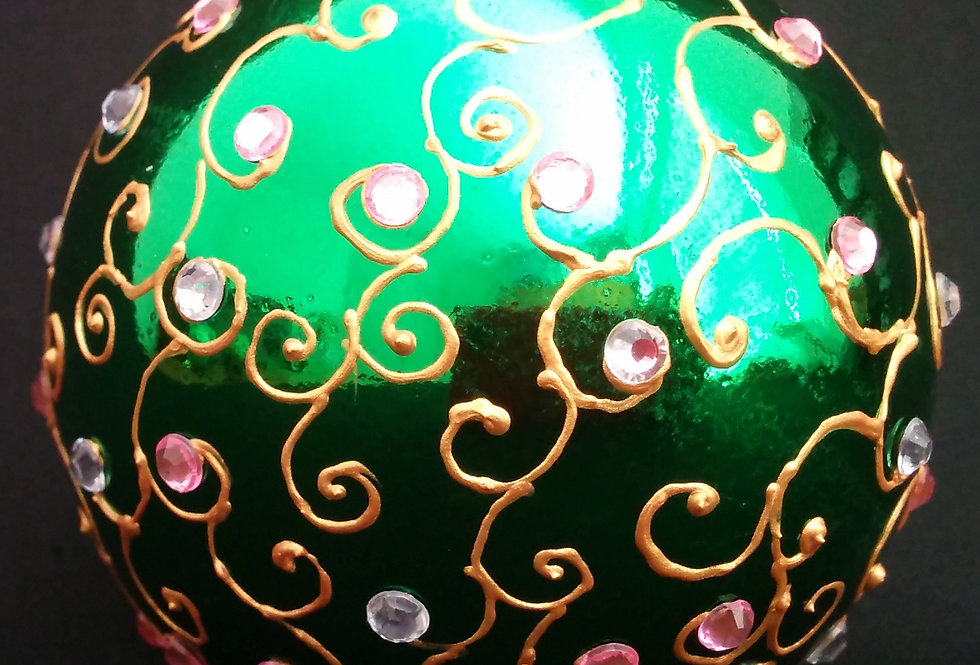 Green Bauble with Gold Henna Design and Light Pink and Clear Rhinestones