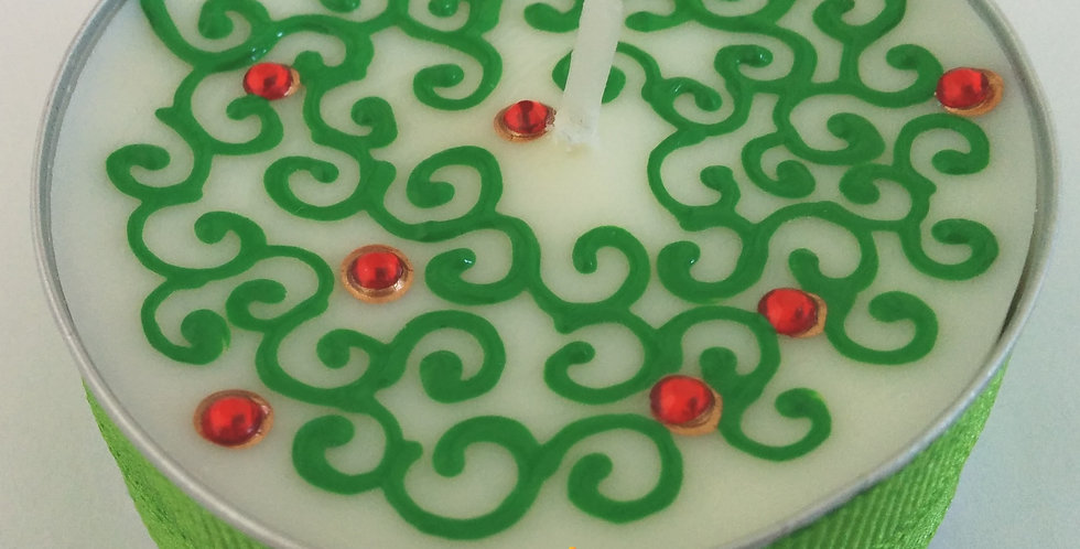 Jumbo Tealight Candle with Green and Gold Henna Design