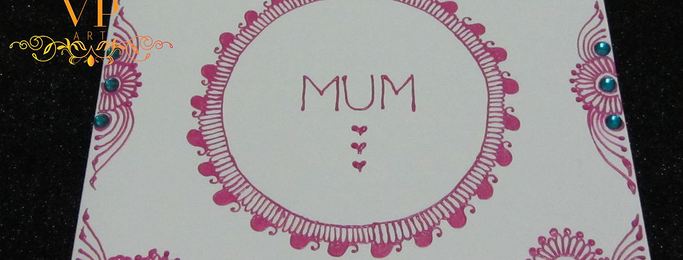 Mother's Day Card with Pink Henna Design and Turquoise Rhinestones
