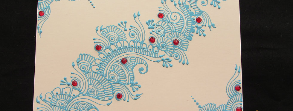 White Gift Card with Blue Henna Design and Red Rhinestones
