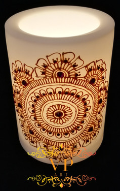 10cm White Pillar LED Candle with Gold Henna Design and Red & Purple Rhinestones