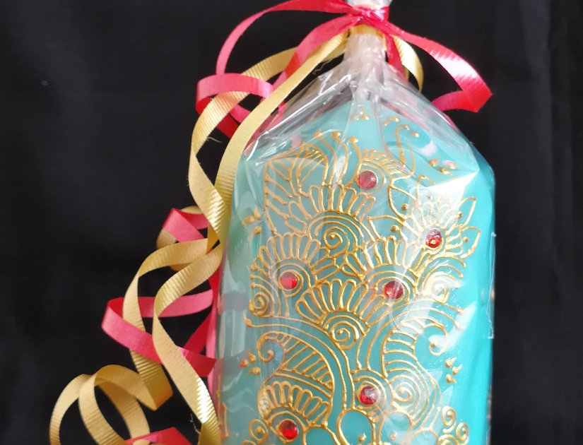 15cm Blue Pillar Candle with Gold Henna Design and Orange Rhinestones