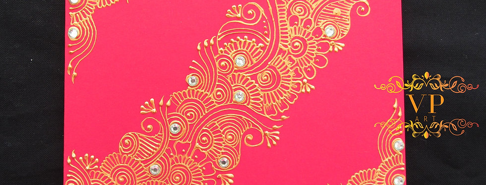 Red Gift Card with Gold Henna Design and Light Green Rhinestones