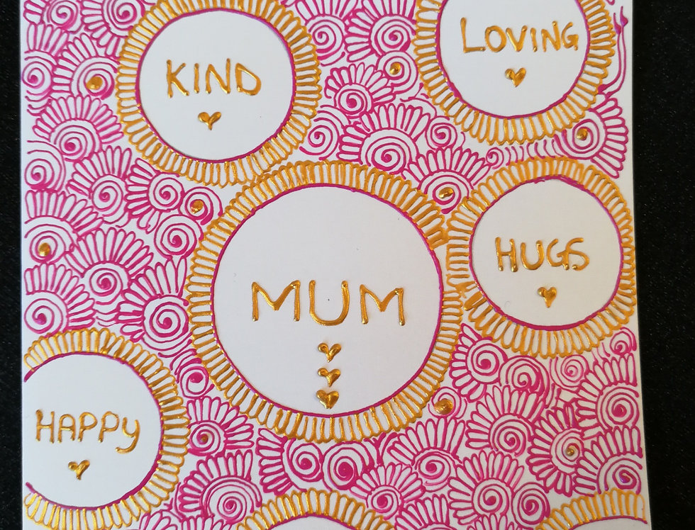 Mother's Day Card with Gold and Pink Henna Design
