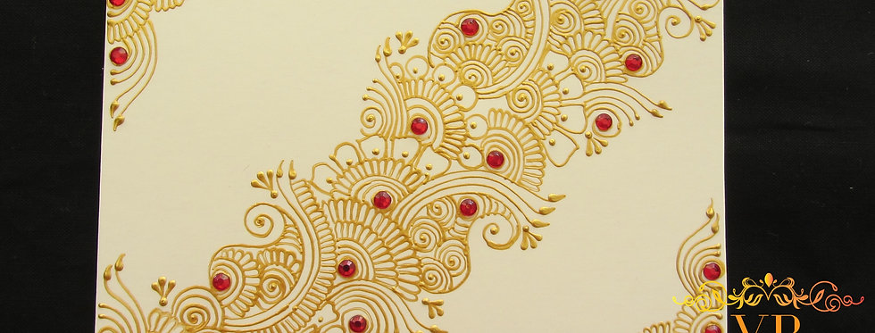 White Gift Card with Gold Henna Design and Red Rhinestones