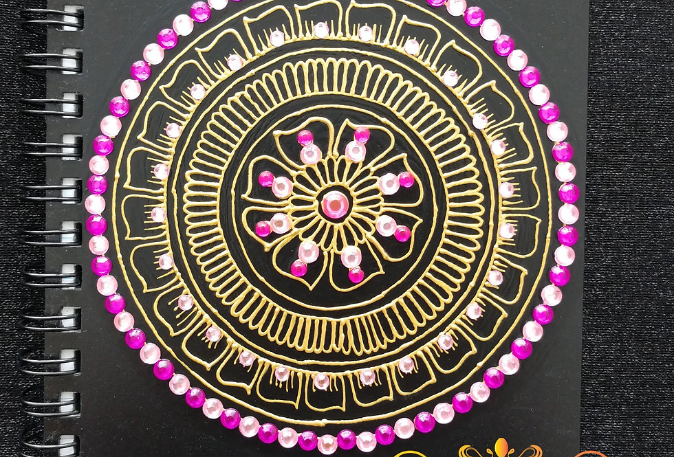 A6 Black Notepad with Gold Henna Design
