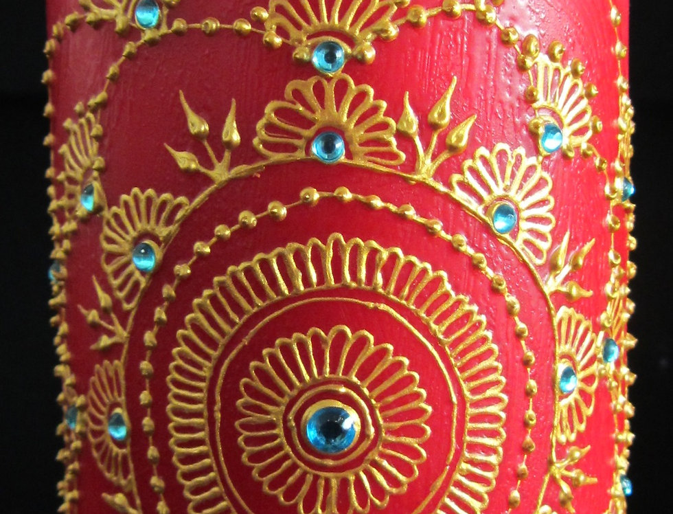 15cm Red Pillar Candle with Gold Henna Design and Turquoise Rhinestones