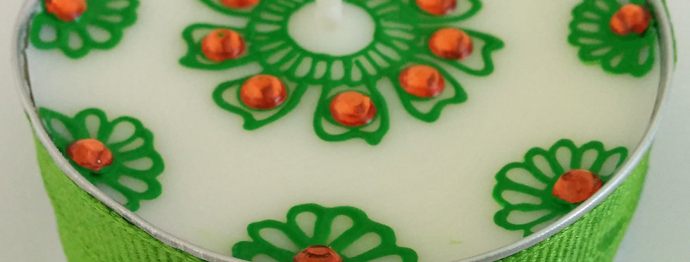 Jumbo Tealight Candle with Green Henna Design