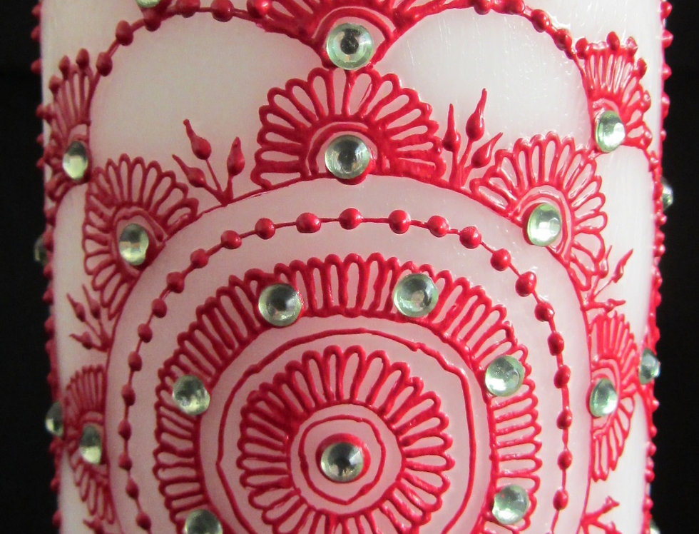 15cm White Pillar Candle with Red Henna Design and Light Green Rhinestones