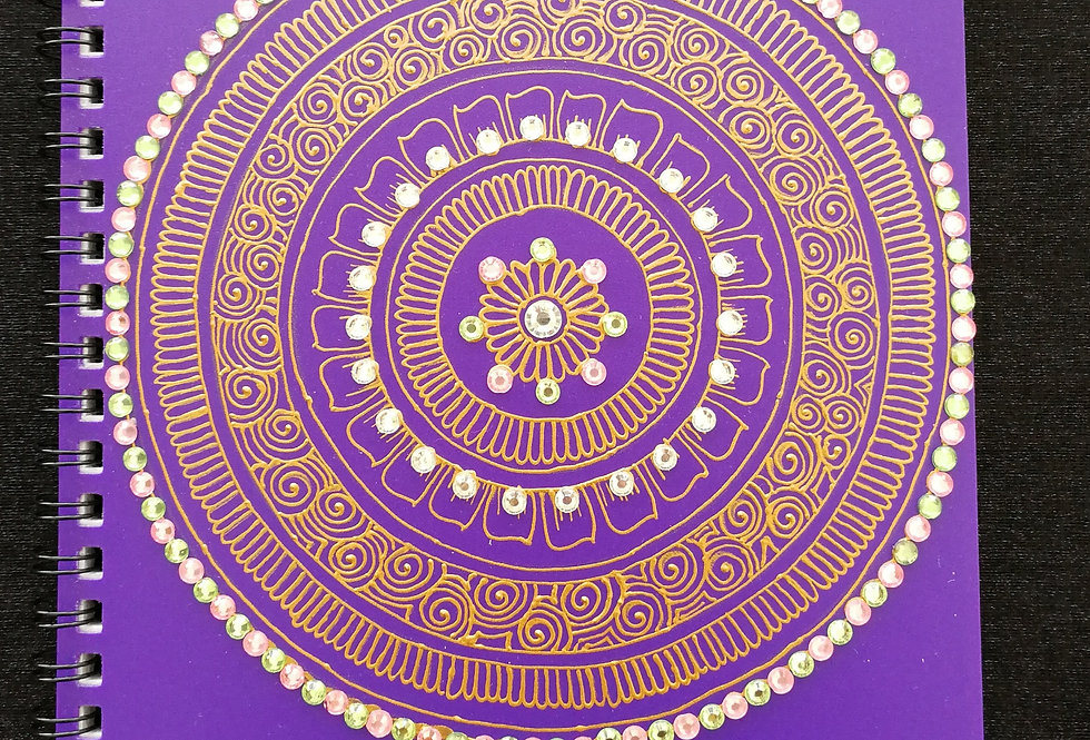 A5 Purple Notepad with Copper Henna Design