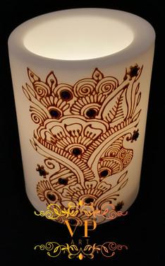 10cm White Pillar LED Candle with Gold Henna Design and Dark Purple Rhinestones