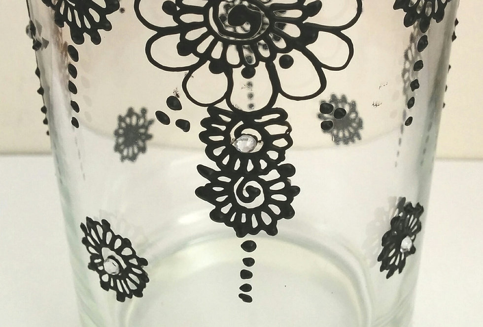 8.3cm Glass Tealight Candle Holder with Black Henna Design
