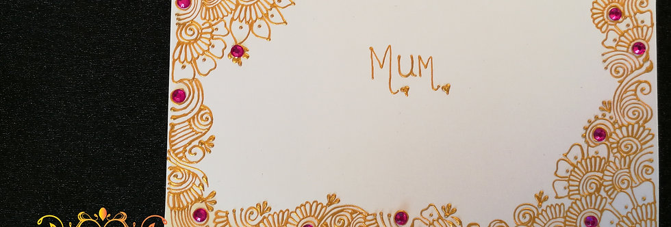 Mother's Day Card with Gold Henna Design and Pink Rhinestones