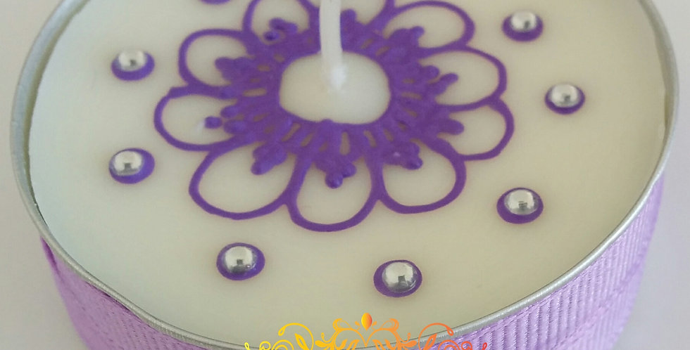 Jumbo Tealight Candle with Lilac Henna Design