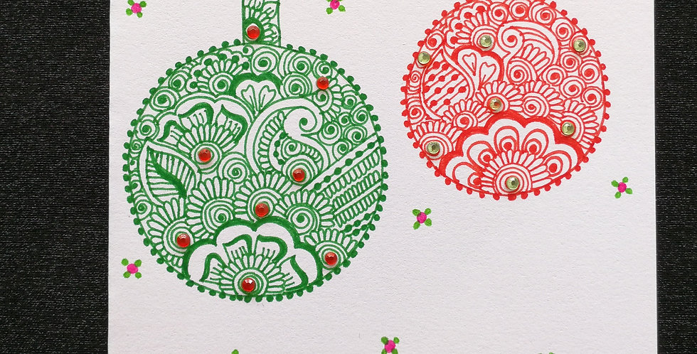 Christmas Card with Red and Green Henna Design and Red Rhinestones