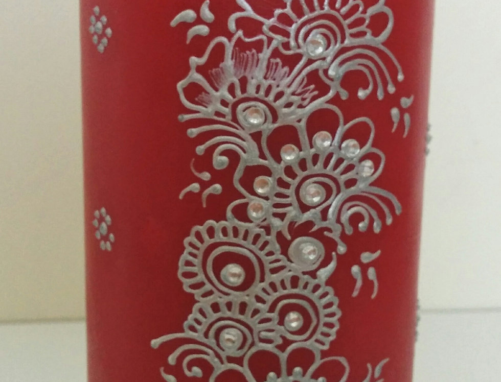 15cm Red Pillar Candle with Silver Henna Design and White Rhinestones