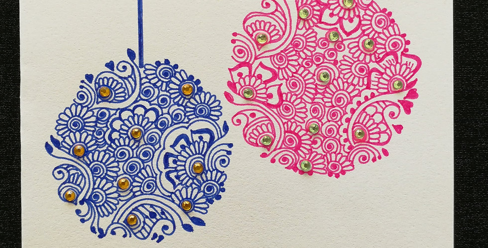 Christmas Card with Pink and Blue Henna Design and Yellow and Green Rhinestones