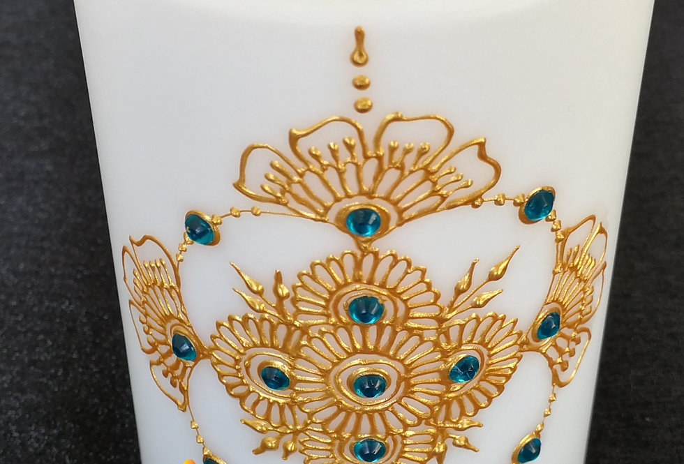 10cm White Pillar LED Candle with Gold Henna Design and Blue Rhinestones
