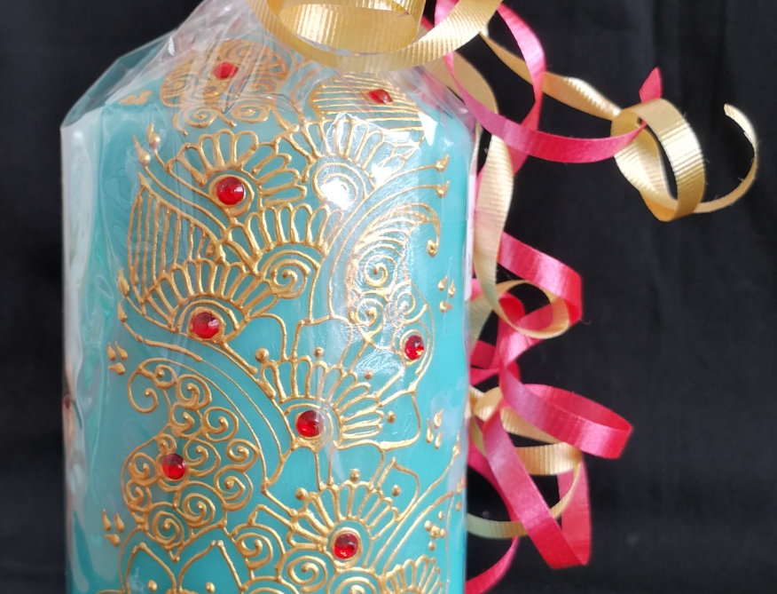 15cm Blue Pillar Candle with Gold Henna Design and Red Rhinestones