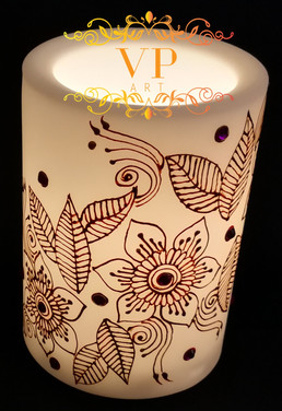 10cm White Pillar LED Candle with Gold Henna Design and Pink Rhinestones