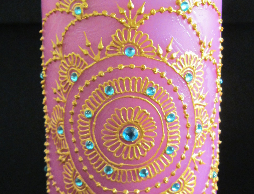15cm Pink Pillar Candle with Gold Henna Design and Turquoise Rhinestones