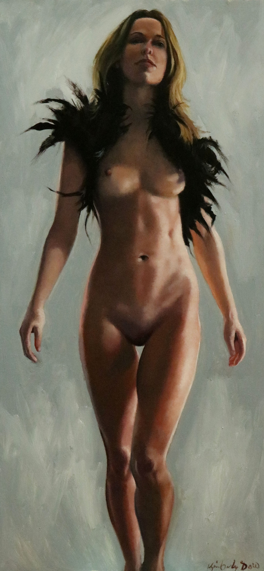 Nude Study With Feathers