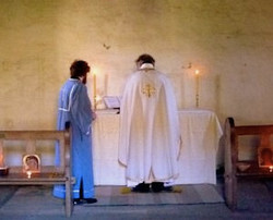 Fr Michael in Saint Oran's Chapel.