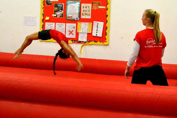 Back flic tumbling gymnastics airtrack surrey danastics