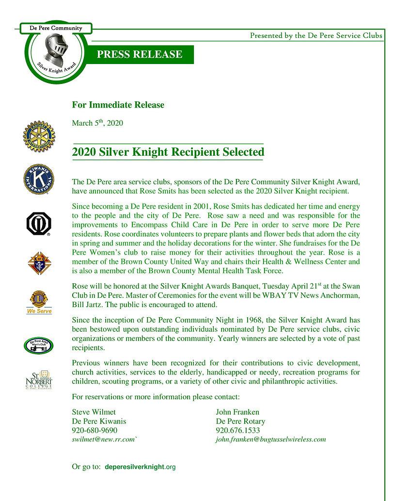 Silver Knight Recipient Press Release 20