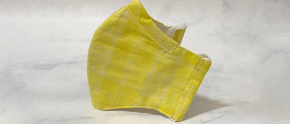 全棉口罩-檸檬黃格仔