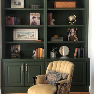 Dark Green Bookshelves