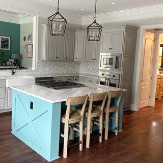 farmhouse kitchen teal island Shadow Sto