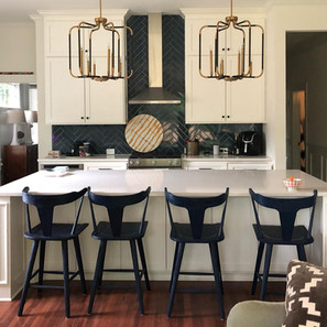 Transitional Kitchen Navy and White