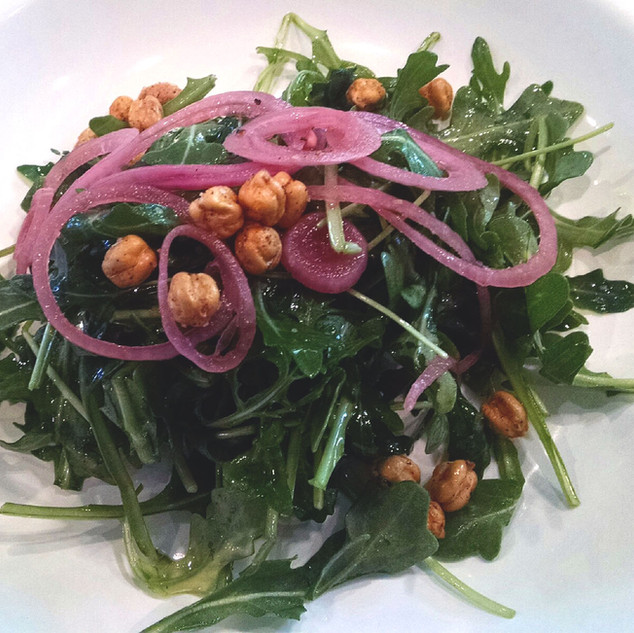 arugula, toasted chick peas, pickled onion, lemon-thyme vinaigrette