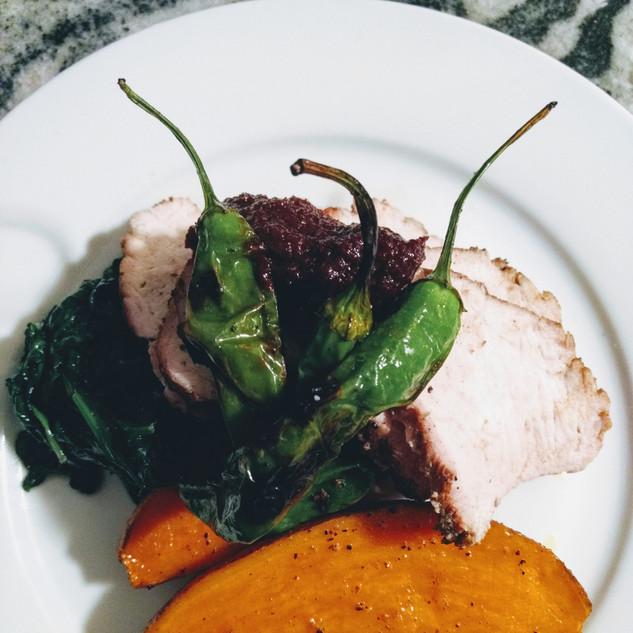 pork tenderloin, sweet potato, garlicky greens, blistered shistos, cherry