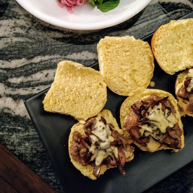 cheese steak sliders, baby romaine salad