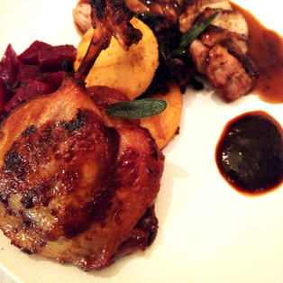 duck two ways, beet two ways, corn two ways, duo sauce