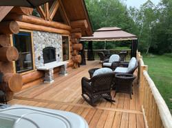 Deck fireplace and cabana
