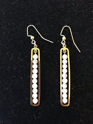 Rainbow Moonstone and Gold Earrings