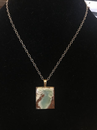 Gold Necklace and Large Chrysoprase