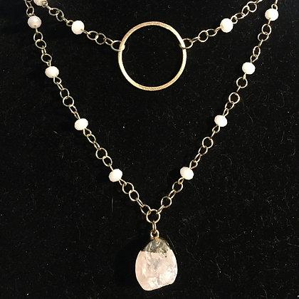 Balanced Energy! Matt Gold and Aura Quartz Necklace