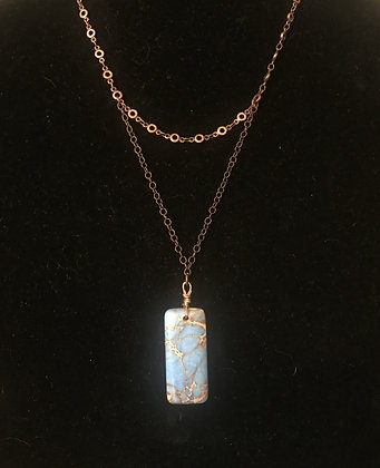 Copper Necklace with Blue Magnesite Drop