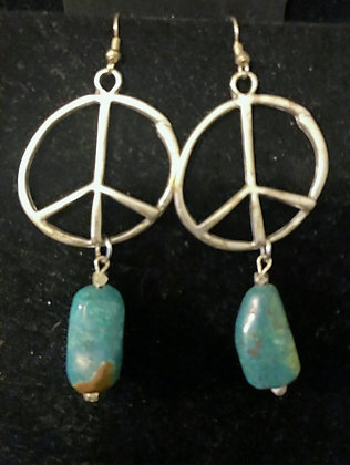 Silver Peace Earrings with Turquoise