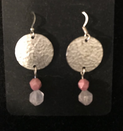 Silver Disc Earring with Rhodonite and Rose Quartz
