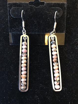 Rhodonite and Silver Earrings